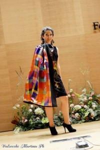 cappotto in crep di lana con fodera in satin di seta multicolor